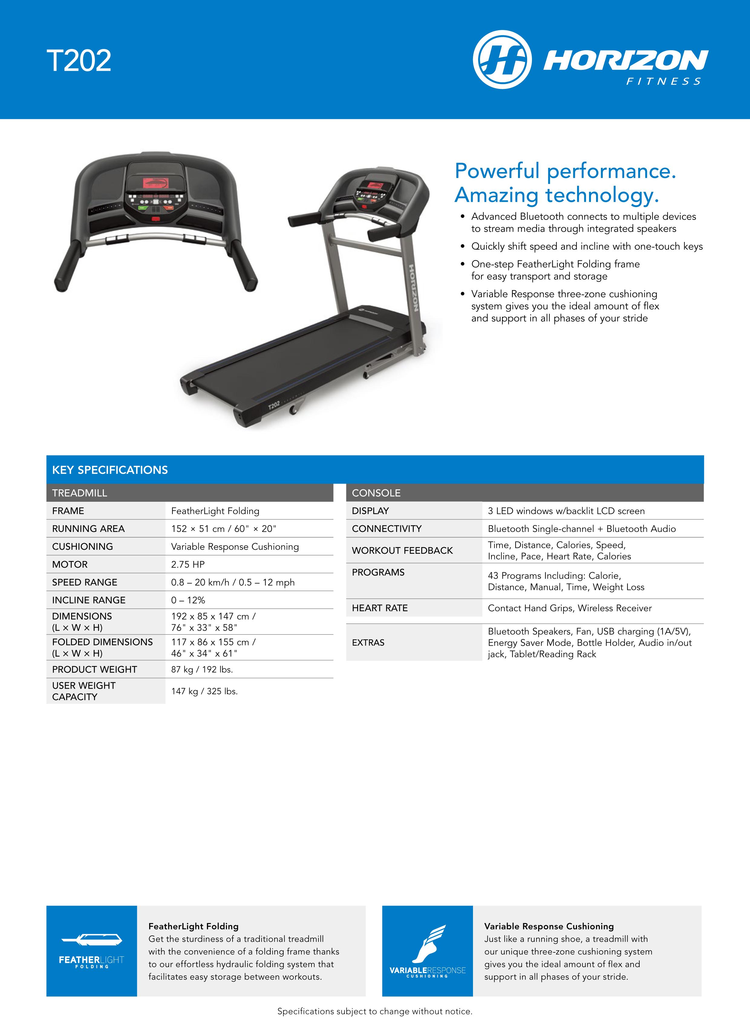 Horizon Treadmill T202 ลู่วิ่งไฟฟ้า (Pre-Order สินค้าพร้อมส่ง 20/07/2020)